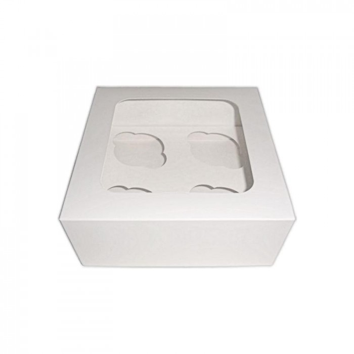 Scatola bianca per cupcake - 4 posti