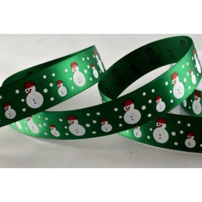 Nastro decorativo natalizio - Verde con pupazzo di neve