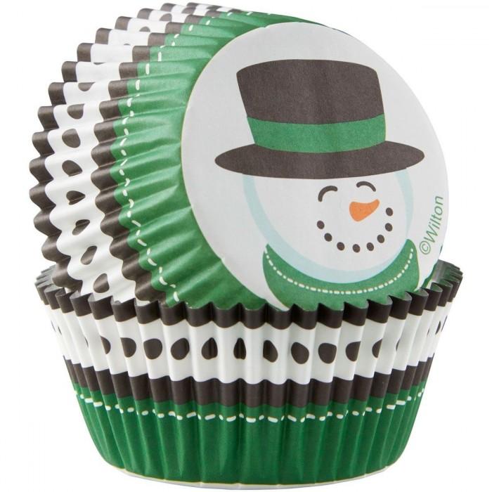 Pirottini natalizi per cupcake e muffin - pupazzo di neve