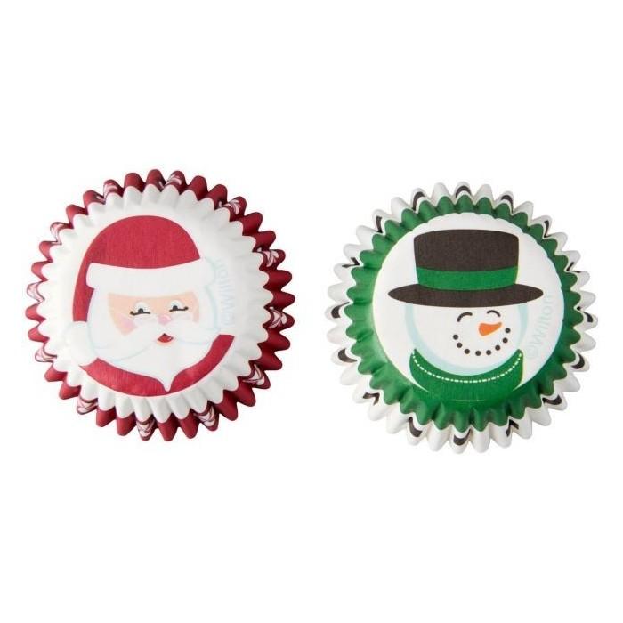 Mini pirottini natalizi per cupcake e muffin - babbo e pupazzo