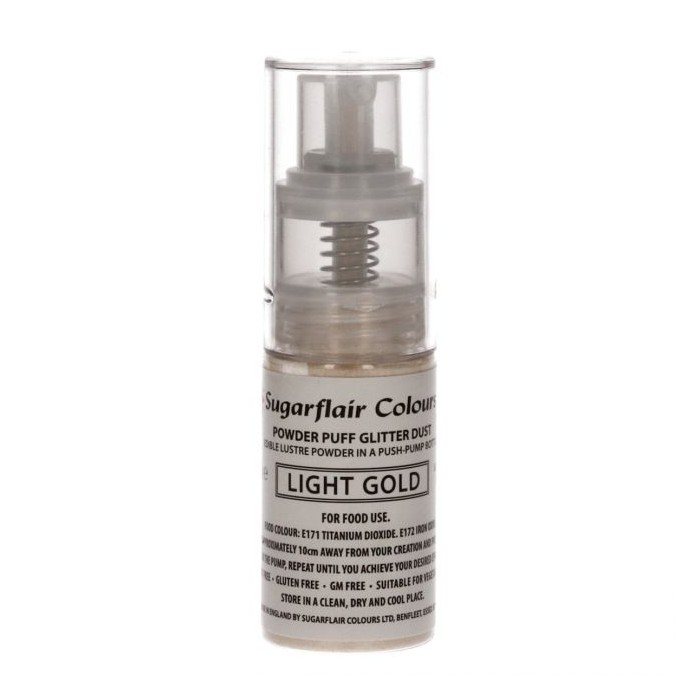 Glitter spray edibile in push pump bottle - oro