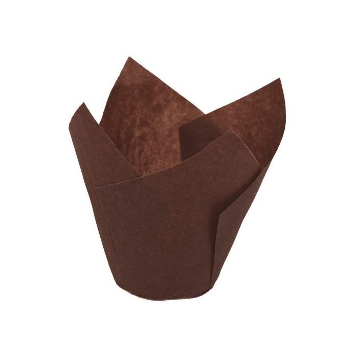 Pirottini Tulip per cupcake - marrone